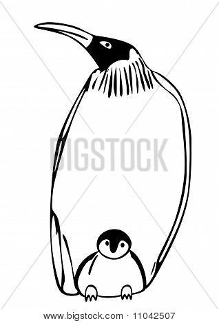 Penguin With Puppy - Vector