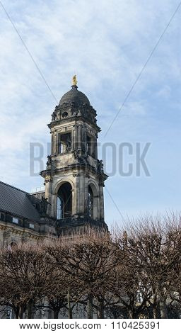 Tower Of On Bruhl Terrace Side In Dresden, Germany.