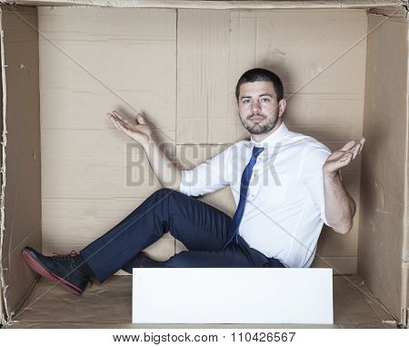 Undecided Businessman With Copy Space