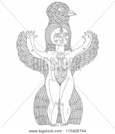Vector Black And White Illustration Of Weird Creature, Nude Woman With Wings, Animal Side Of Human