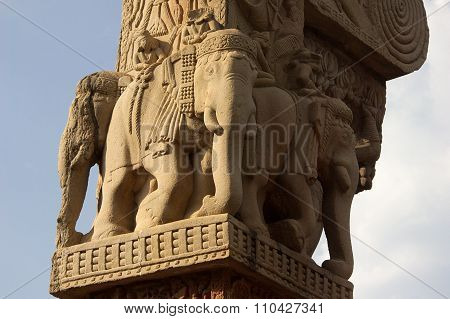 Sculptured Elephants At Sanchi