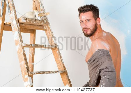 Sexy Painter Undressing