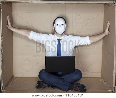 Businessman In A Mask Displaces Office Wall