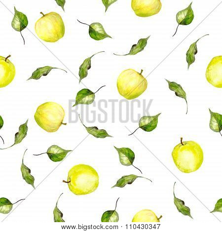 Seamless pattern with yellow apples and leaves