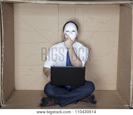 Businessman Wearing A Mask Prepares A Plan
