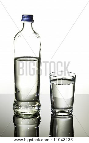 Bottle and glass with water