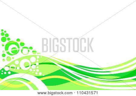Green yellow lines and circles abstract background vector