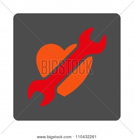 Heart Treatment Rounded Square Button