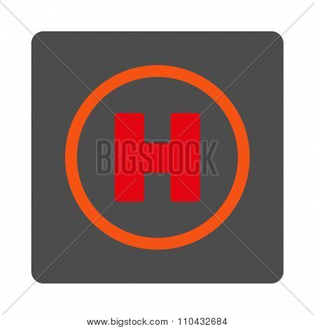 Helicopter Landing Rounded Square Button