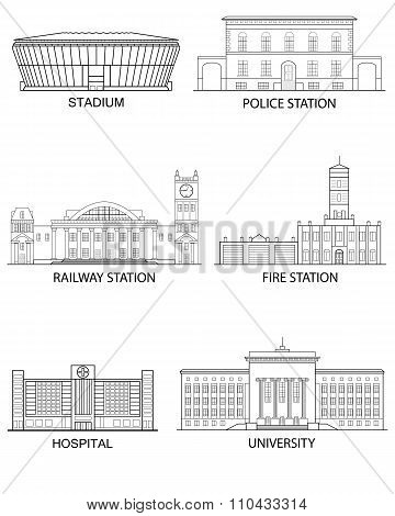 Thin line flat design. Set of isolated historical and modern buildings on a white background in a li