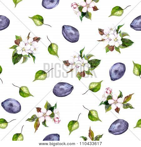 Floral watercolor wallpaper with plums