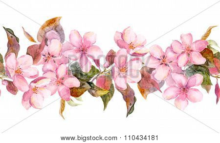 Apple or cherry pink flowers. Seamless floral stripe frame. Watercolor painted fringe