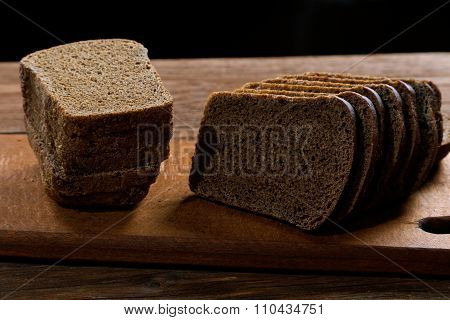 Slices Of Rye Bread On The Table