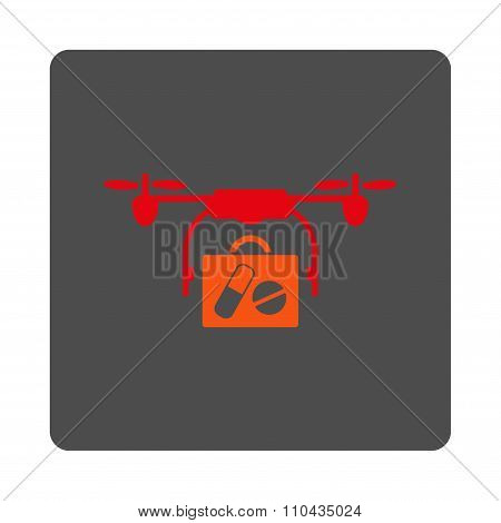 Medical Airdrone Shipping Rounded Square Button