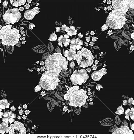 Seamless vector vintage pattern with Victorian bouquet of white flowers on a black background.