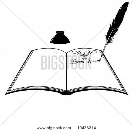 book inkwell and feather vector