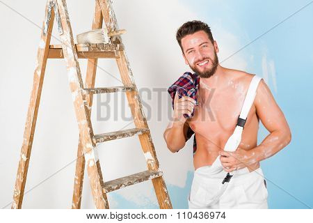 Handsome Bare Chest Painter