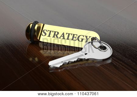 Room Key With Golden Keychain Strategy Concept