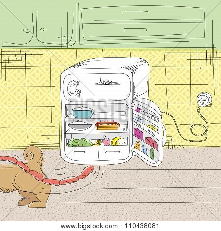 Fairy tale about a dog and refrigerator