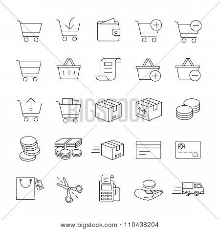 Online shopping outlines vector icons