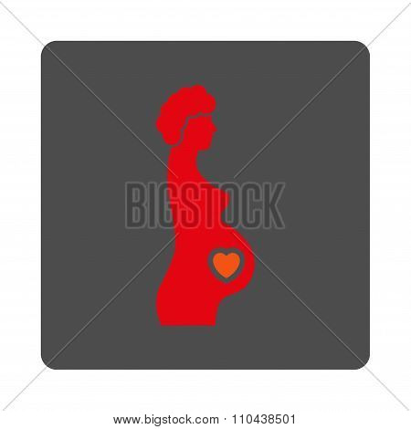 Pregnant Female Rounded Square Button