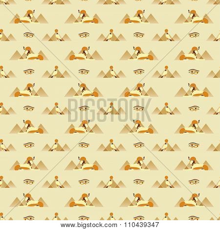 Seamless Pattern With Egyptian Symbols