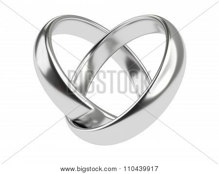Heart With Silver Rings Isolated On White