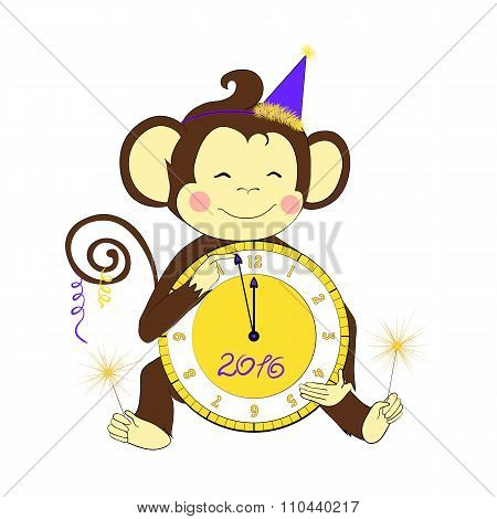 New Year. Little monkey holding clock and sparklers.