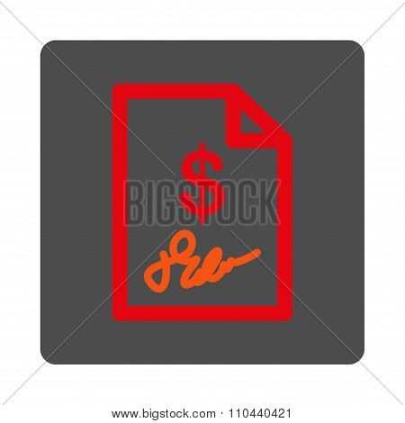 Signed Invoice Rounded Square Button