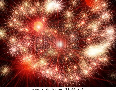 Red Shining Fireworks Stars.abstract Holiday Background.