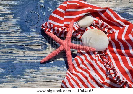 Red-white Bikini With Red Sea Star