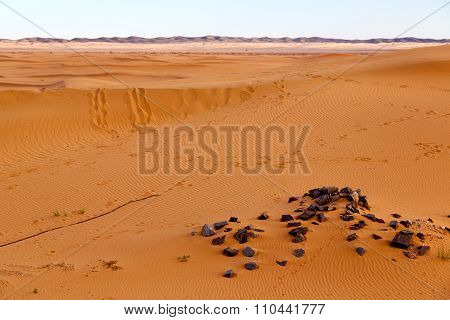 Mountain Old Fossil In    Sahara And Rock  Stone    Sky