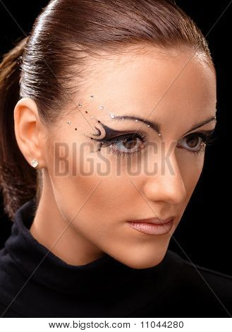 Beautiful Young Girl With Podium Makeup