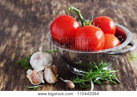 Ripe Tomatoes In A Colander