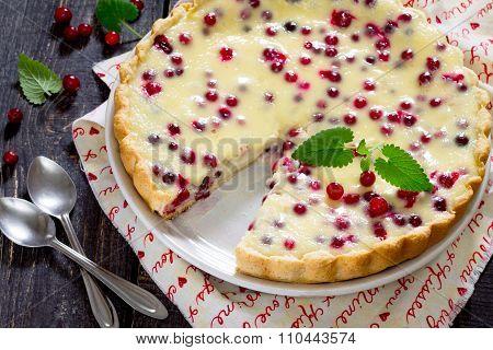 Cakes, Pies, Shortbread Dough With Fresh Cranberries Flood, Selective Focus.