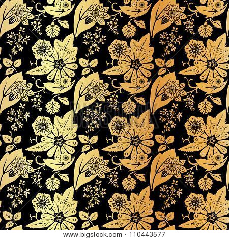 Seamless vintage floral pattern. Gold silhouettes of wildflowers on a black background.