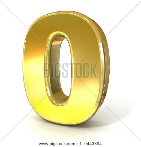 Numerical digits collection 0 - ZERO. 3D golden sign