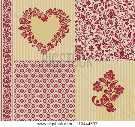Vector set of vintage elements for design.