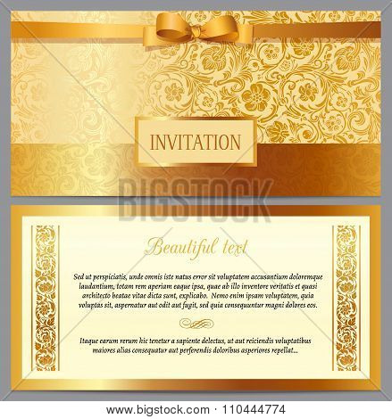 Set of vector vintage luxury horizontal invitation with a beautiful baroque pattern and border.