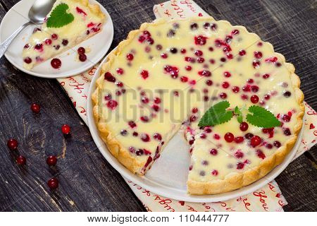 Cakes, Pies, Shortbread Dough With Fresh Cranberries Flood In A Rustic Style.