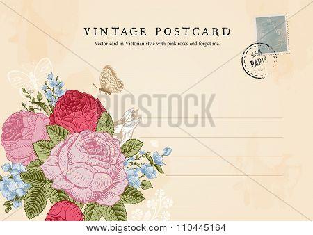 Vector vintage postcard in Victorian style.