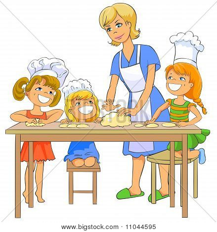 Children cooking patty with mom