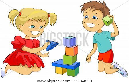 Children playing with toy blocks.