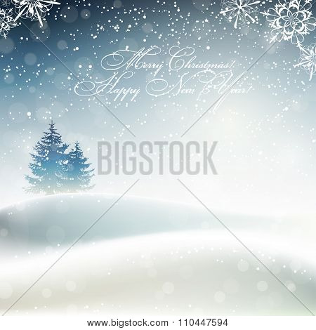Merry Christmas and Happy New Year card with frosty winter landscape, vector