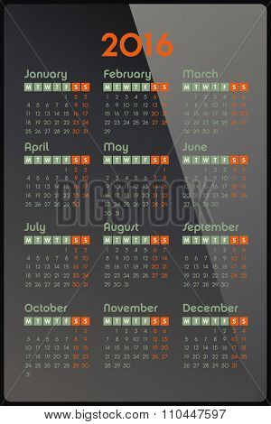 Calendar for 2016 on glossy background, week starts Monday, vector