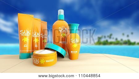 sunscreen in a tropical beach