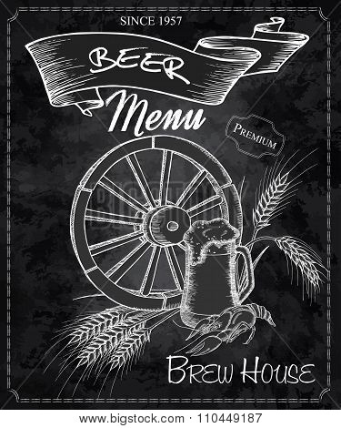 Vector Hand Drawn Chalkboard With Beer Menu. Contains Wheel, Beer Mug, Crayfish And Ears Of Wheat
