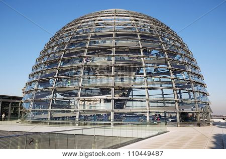 BERLIN - 2015 NOVEMBER 9: glass cupola of the Bundestag Building