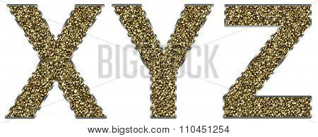 Capital XYZ letters made of gold and silver frame