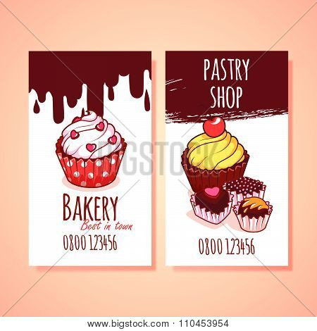 Two Vertical Business Card Template For Pastry Shop.